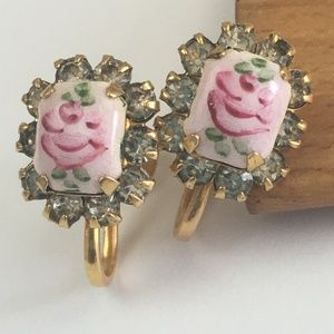Vintage Pink Guilloche Rhinestone Earrings